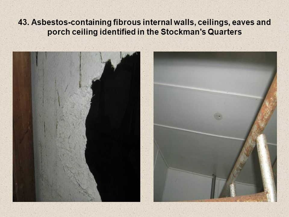 43. Asbestos-containing fibrous internal walls, ceilings, eaves and porch ceiling identified in the Stockman's Quarters