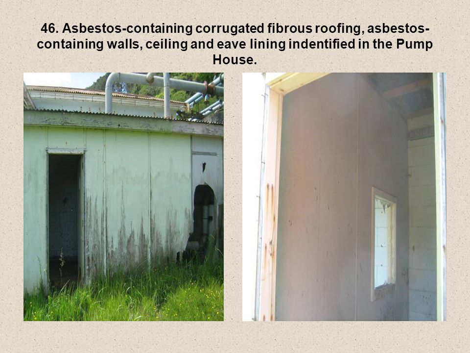 46. Asbestos-containing corrugated fibrous roofing, asbestos- containing walls, ceiling and eave lining indentified in the Pump House.