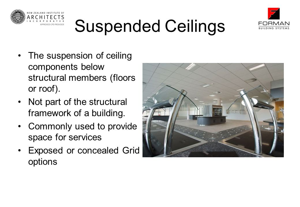 Suspended Ceilings The suspension of ceiling components below structural members (floors or roof). Not part of the structural framework of a building.