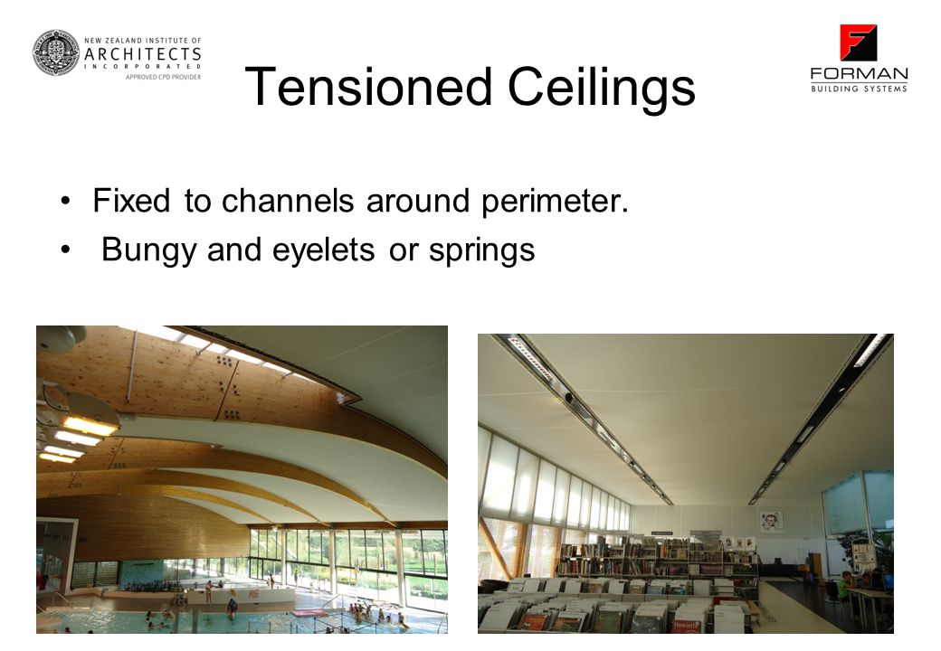 Tensioned Ceilings Fixed to channels around perimeter. Bungy and eyelets or springs