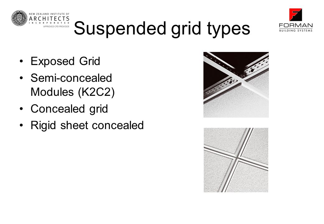 Suspended grid types Exposed Grid Semi-concealed Modules (K2C2) Concealed grid Rigid sheet concealed