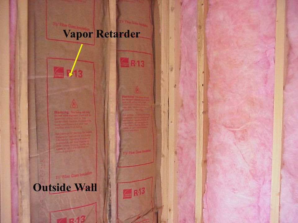 8.3.1 Types of thermally insulating materials: Glass fiber batts (blankets) are the most popular type of insulation for wall cavities in new construction - Widely used in attic and roof insulation (i) Batt or blanket - Glass/rock wool - R value 3.2-3.7 - Incombustible (ii) High density batt - Glass wool - R value 4.3 - Incombustible (iii) Loose fill - Glass/rock wool - R value 2.5-3.5 - Incombustible (iv) Loose fibers with binders - Treated cellulose, glass wool - R value 3.1-4.0 - Incombustible (v) Foamed-in-place - Polyurethane - R value 5-7 - Combustible (vi) Foamed-in-place - Polyicynene - R value 3.6-4.0 - Combustible but self- extinguishing (vii) Rigid board - Polystyrene foam- R value 4-5 - Combustible, but self- extinguishing (viii) Rigid board - glass fiber - R value 3.5 - Incombustible (ix) Rigid board - Cane fiber - R value 2.5 - Combustible - Low cost 8.3 THERMAL INSULATION AND VAPOR RETARDER (Contd)