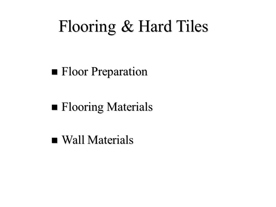 Floor Underlayment Purpose: Purpose: –Level Floor –Increase Fire Resistance –Reduce Sound Transmission Materials Materials –Poured Gypsum –Lightweight Concrete