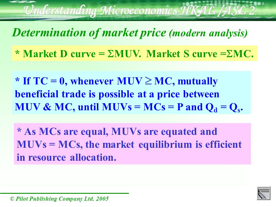 © Pilot Publishing Company Ltd. 2005 * Market D curve = MUV. Market S curve = MC. * If TC = 0, whenever MUV MC, mutually beneficial trade is possible
