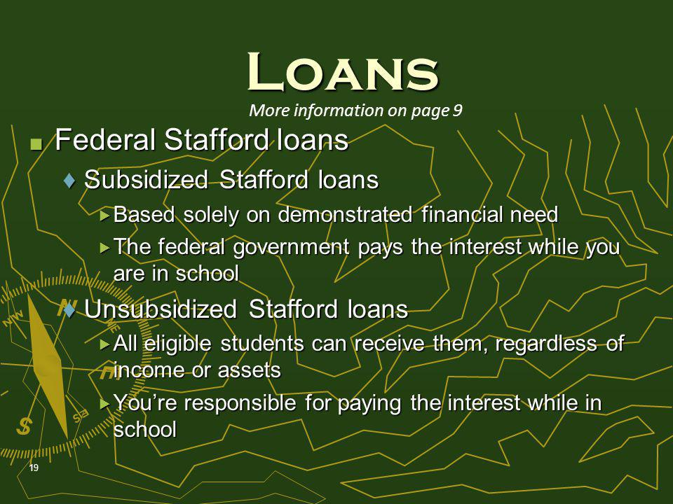 Federal Stafford loans Federal Stafford loans Subsidized Stafford loansSubsidized Stafford loans Based solely on demonstrated financial need Based solely on demonstrated financial need The federal government pays the interest while you are in school The federal government pays the interest while you are in school Unsubsidized Stafford loansUnsubsidized Stafford loans All eligible students can receive them, regardless of income or assets All eligible students can receive them, regardless of income or assets Youre responsible for paying the interest while in school Youre responsible for paying the interest while in school 19 Loans More information on page 9