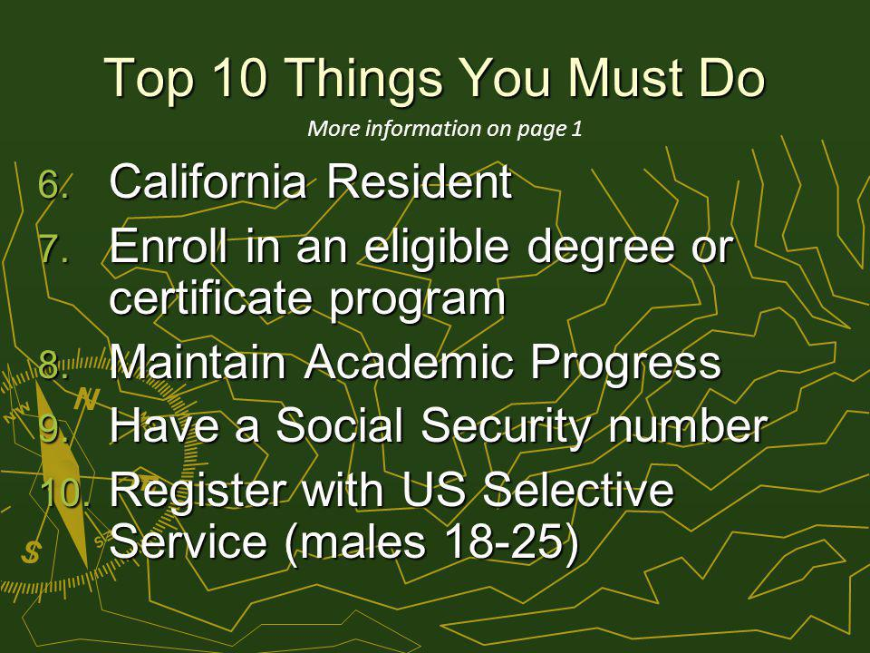 Top 10 Things You Must Do 6. California Resident 7.
