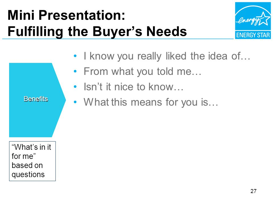 Mini Presentation: Fulfilling the Buyers Needs I know you really liked the idea of… From what you told me… Isnt it nice to know… What this means for you is… Whats in it for me based on questions Benefits 27