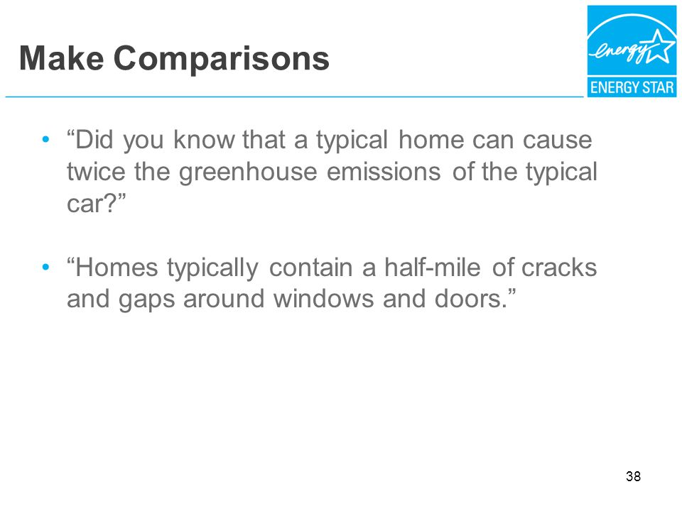Make Comparisons Did you know that a typical home can cause twice the greenhouse emissions of the typical car.