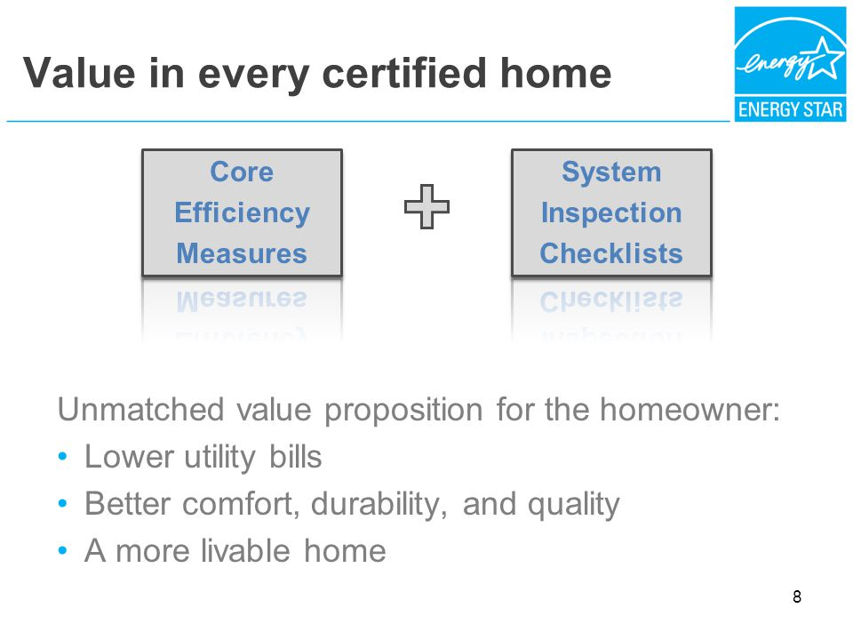 Value in every certified home Unmatched value proposition for the homeowner: Lower utility bills Better comfort, durability, and quality A more livable home 8