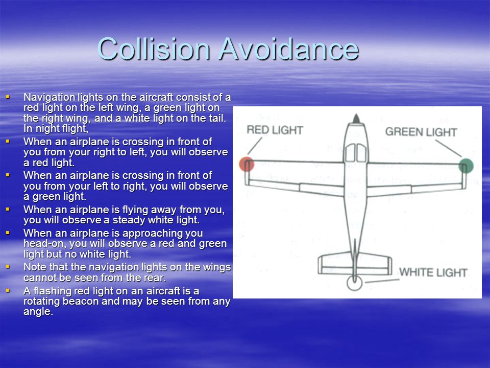 Collision Avoidance Navigation lights on the aircraft consist of a red light on the left wing, a green light on the right wing, and a white light on t