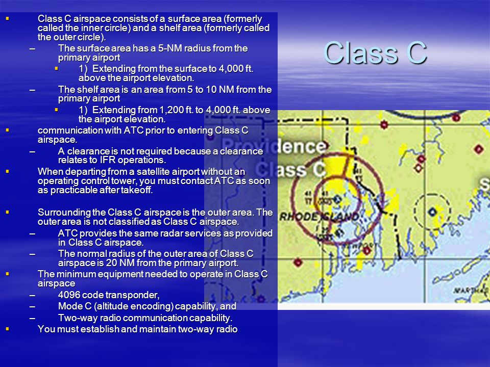 Class C Class C airspace consists of a surface area (formerly called the inner circle) and a shelf area (formerly called the outer circle). Class C ai