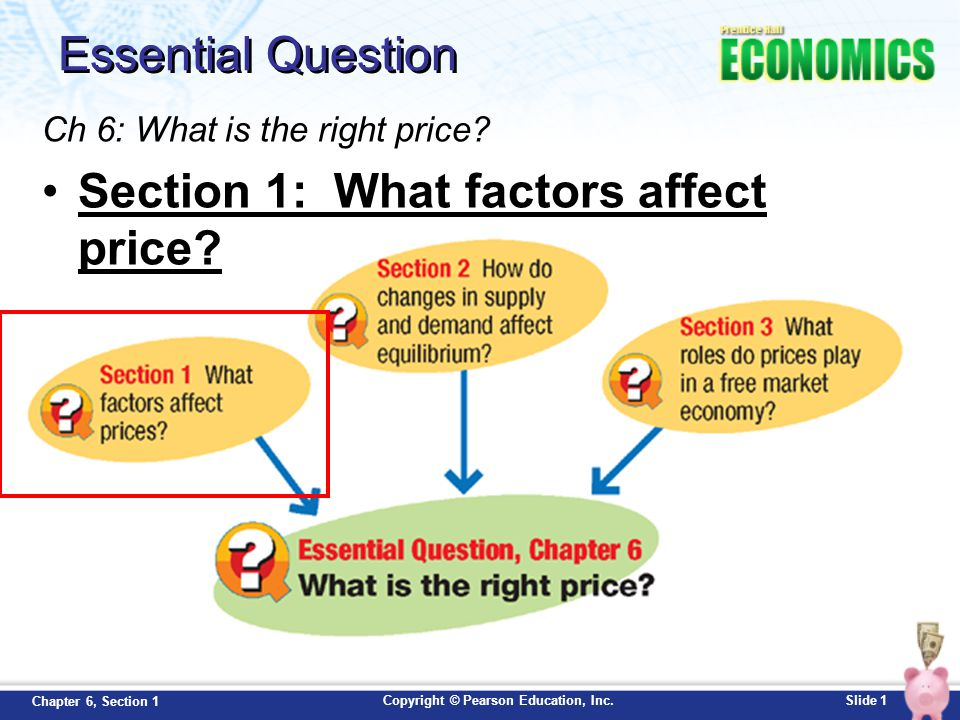 Copyright © Pearson Education, Inc.Slide 12 Chapter 6, Section 1 Price Ceilings: Rent Control In price ceilings, the government caps or limits the price that can be charged for a good/service Rent Control –Sets a price ceiling on apartment rent –Prevents inflation during housing crises –Helps the poor cut their housing costs –Can lead to poorly managed buildings because landlords cannot afford the upkeep.
