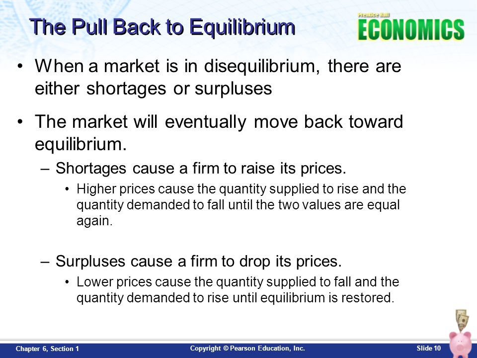 Copyright © Pearson Education, Inc.Slide 10 Chapter 6, Section 1 The Pull Back to Equilibrium When a market is in disequilibrium, there are either sho