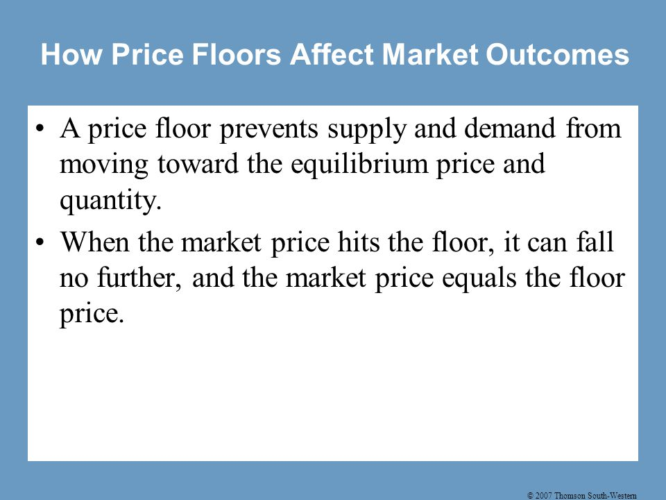 © 2007 Thomson South-Western How Price Floors Affect Market Outcomes A price floor prevents supply and demand from moving toward the equilibrium price and quantity.