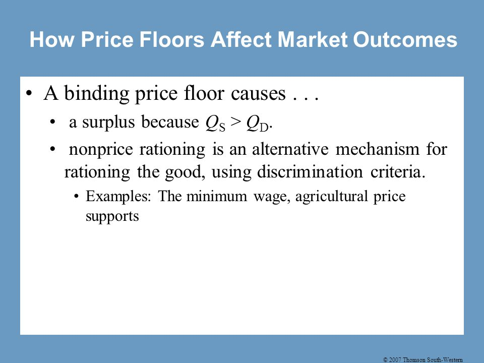 © 2007 Thomson South-Western How Price Floors Affect Market Outcomes A binding price floor causes...