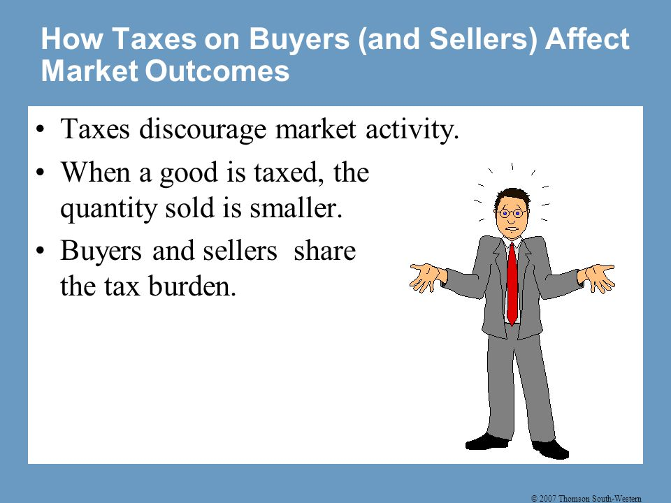 © 2007 Thomson South-Western How Taxes on Buyers (and Sellers) Affect Market Outcomes Taxes discourage market activity.