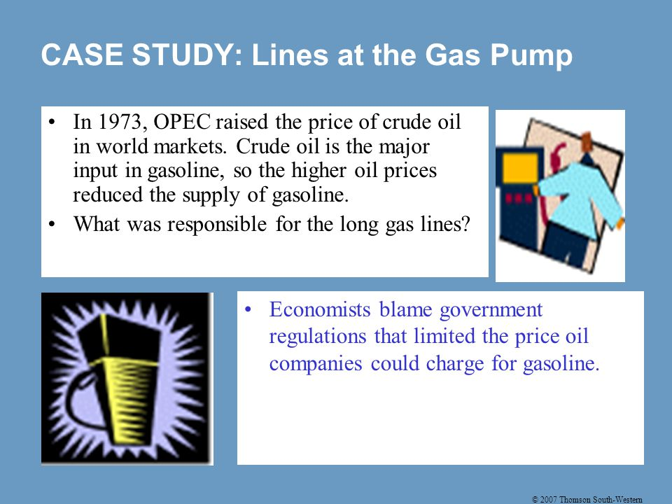 © 2007 Thomson South-Western CASE STUDY: Lines at the Gas Pump Economists blame government regulations that limited the price oil companies could charge for gasoline.