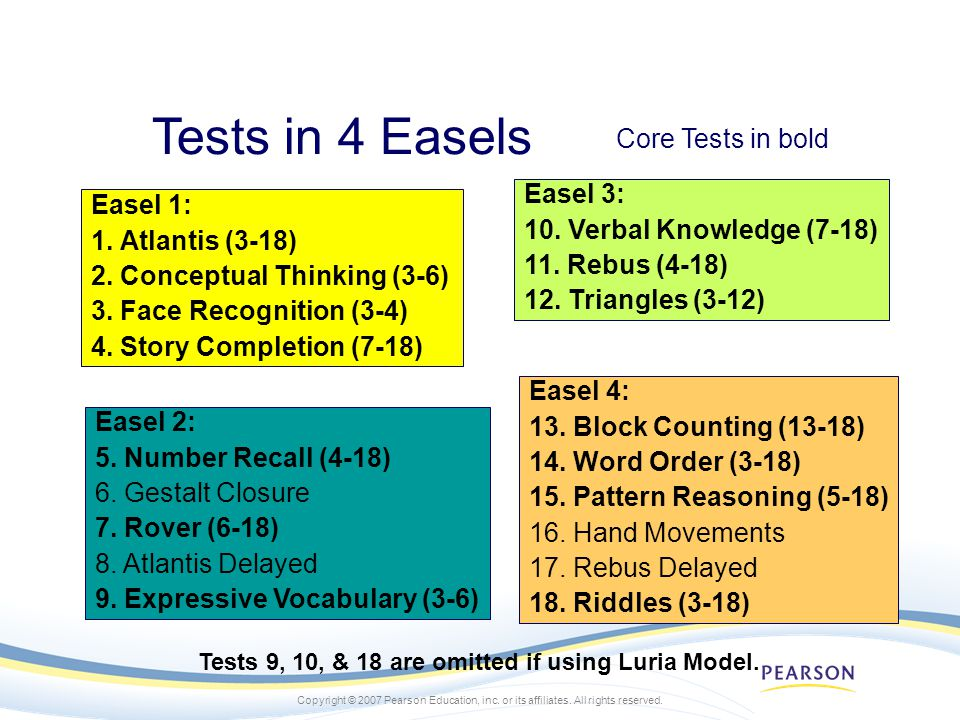 Copyright © 2007 Pearson Education, inc. or its affiliates. All rights reserved. Tests in 4 Easels Easel 1: 1. Atlantis (3-18) 2. Conceptual Thinking