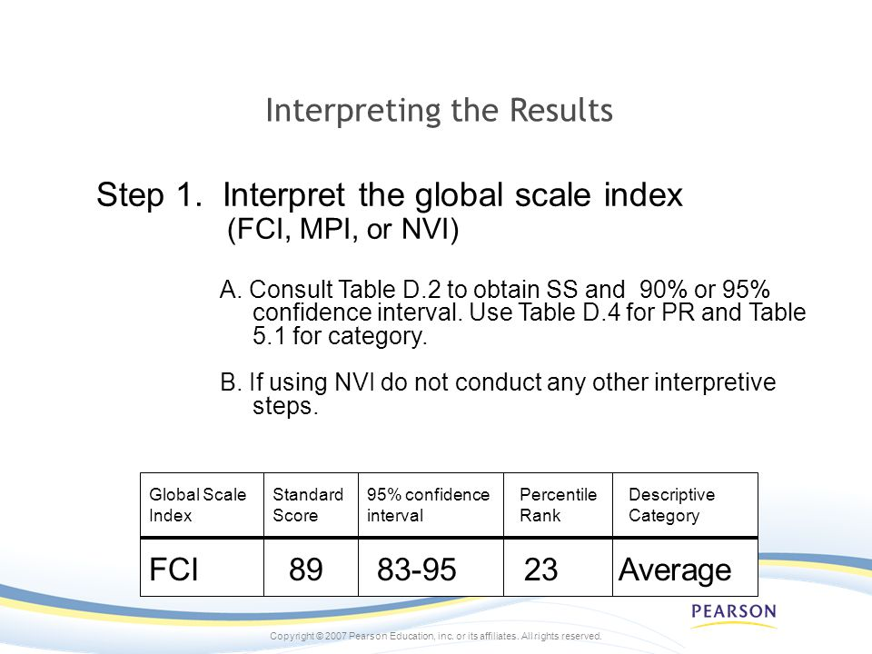 Copyright © 2007 Pearson Education, inc. or its affiliates. All rights reserved. Interpreting the Results Step 1. Interpret the global scale index (FC