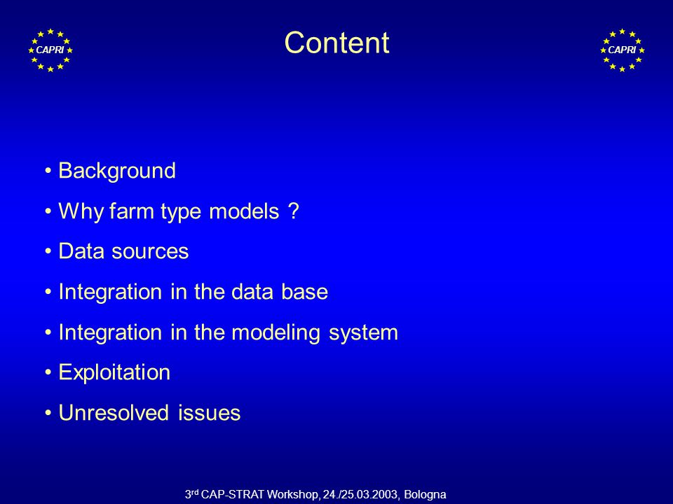 CAPRI 3 rd CAP-STRAT Workshop, 24./25.03.2003, Bologna Content Background Why farm type models .