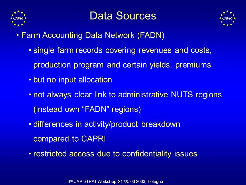 CAPRI 3 rd CAP-STRAT Workshop, 24./25.03.2003, Bologna Data Sources Farm Accounting Data Network (FADN) single farm records covering revenues and costs, production program and certain yields, premiums but no input allocation not always clear link to administrative NUTS regions (instead own FADN regions) differences in activity/product breakdown compared to CAPRI restricted access due to confidentiality issues