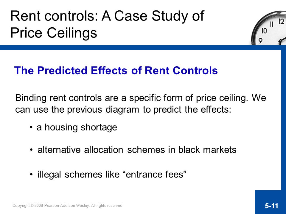 Copyright © 2008 Pearson Addison-Wesley. All rights reserved. 5-11 Rent controls: A Case Study of Price Ceilings The Predicted Effects of Rent Control