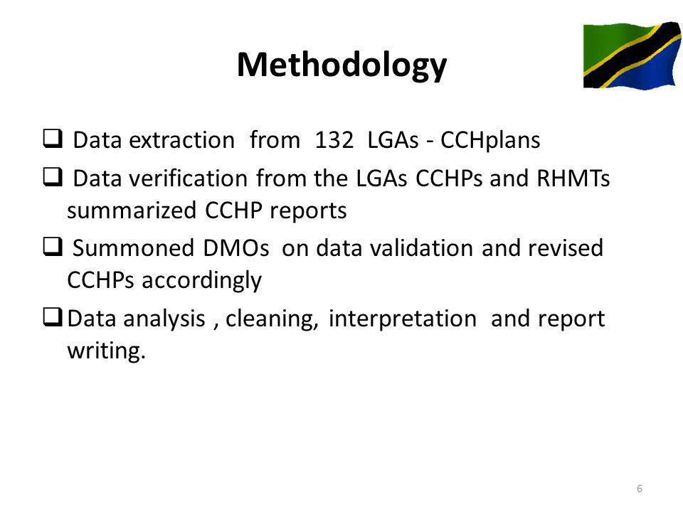 Methodology Data extraction from 132 LGAs - CCHplans Data verification from the LGAs CCHPs and RHMTs summarized CCHP reports Summoned DMOs on data validation and revised CCHPs accordingly Data analysis, cleaning, interpretation and report writing.