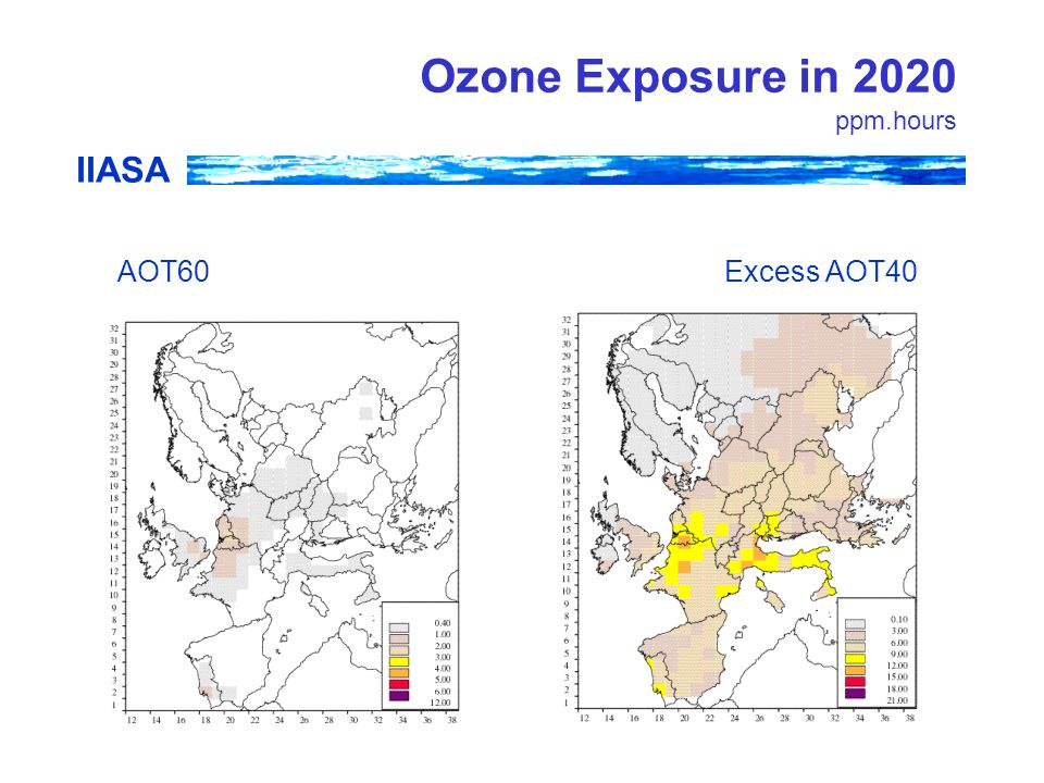 IIASA Ozone Exposure in 2020 ppm.hours AOT60Excess AOT40