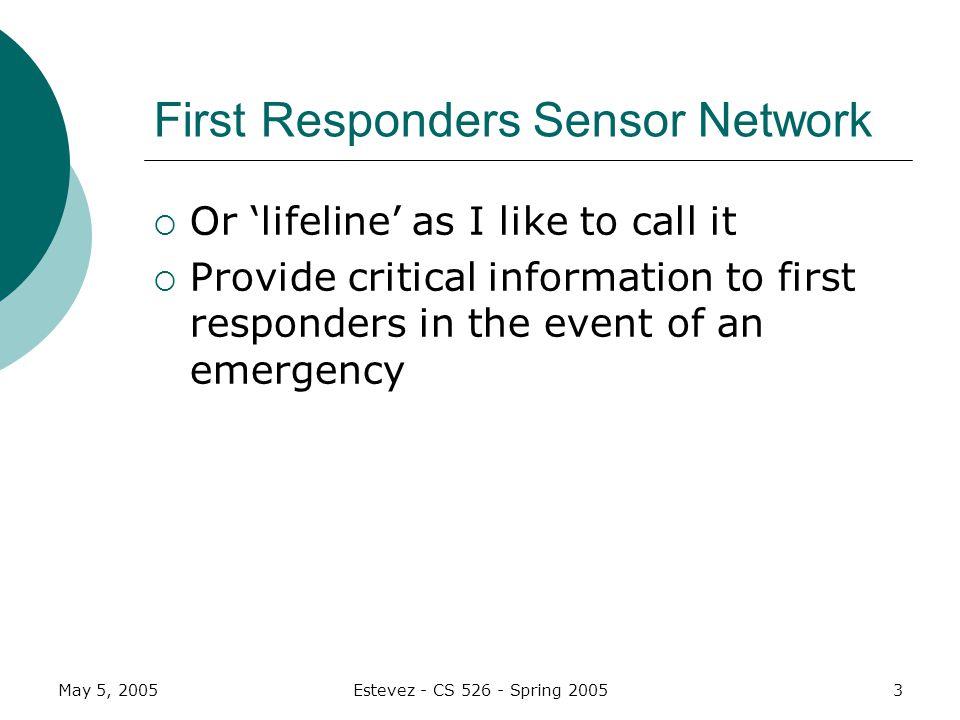 May 5, 2005Estevez - CS 526 - Spring 20054 Motes Use wireless sensors called motes