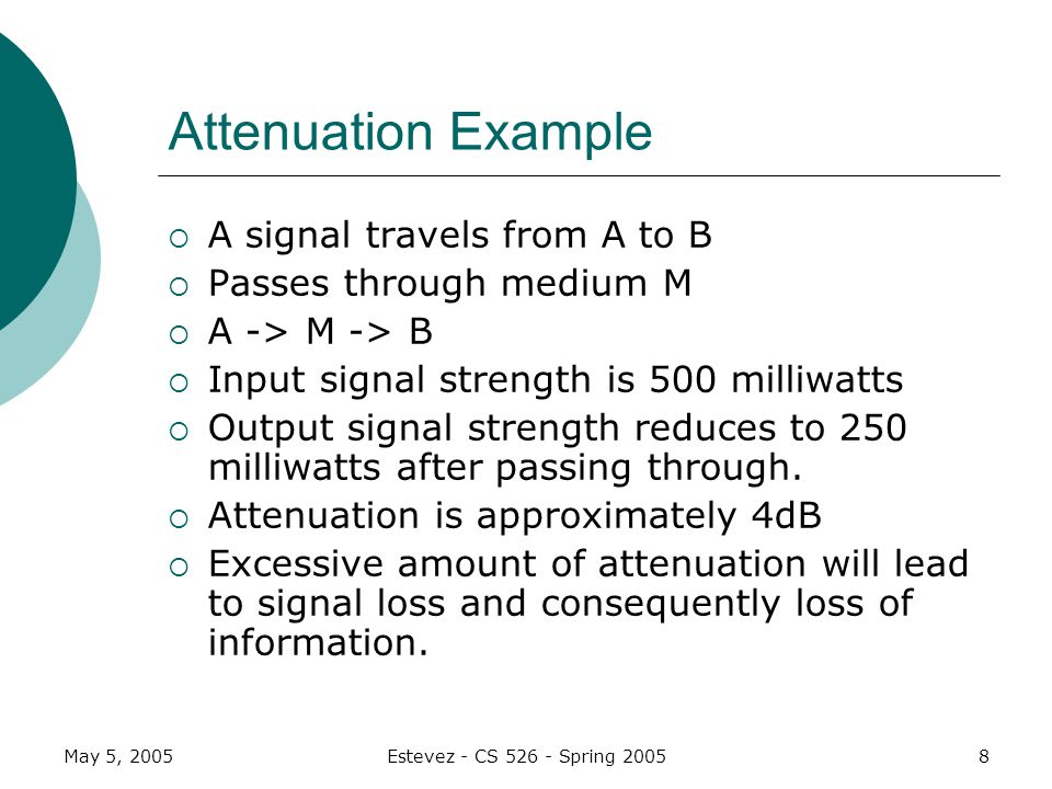 May 5, 2005Estevez - CS Spring Attenuation Example A signal travels from A to B Passes through medium M A -> M -> B Input signal strength is 500 milliwatts Output signal strength reduces to 250 milliwatts after passing through.