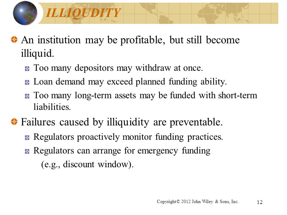 12 ILLIQUDITY An institution may be profitable, but still become illiquid. Too many depositors may withdraw at once. Loan demand may exceed planned fu