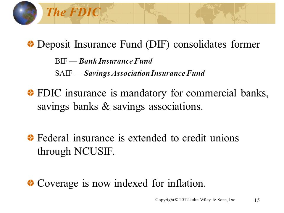 15 The FDIC Deposit Insurance Fund (DIF) consolidates former BIF Bank Insurance Fund SAIF Savings Association Insurance Fund FDIC insurance is mandato