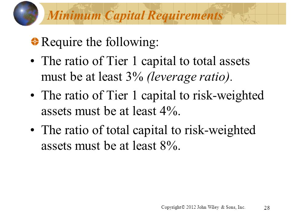 Minimum Capital Requirements Require the following: The ratio of Tier 1 capital to total assets must be at least 3% (leverage ratio). The ratio of Tie