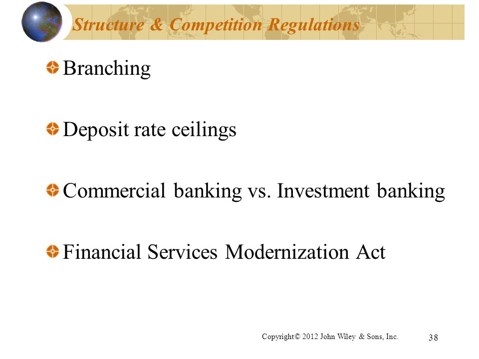 38 Structure & Competition Regulations Branching Deposit rate ceilings Commercial banking vs. Investment banking Financial Services Modernization Act