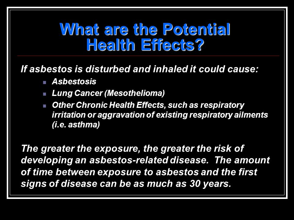 When Is Asbestos A Risk To Health .Consider the type of product.