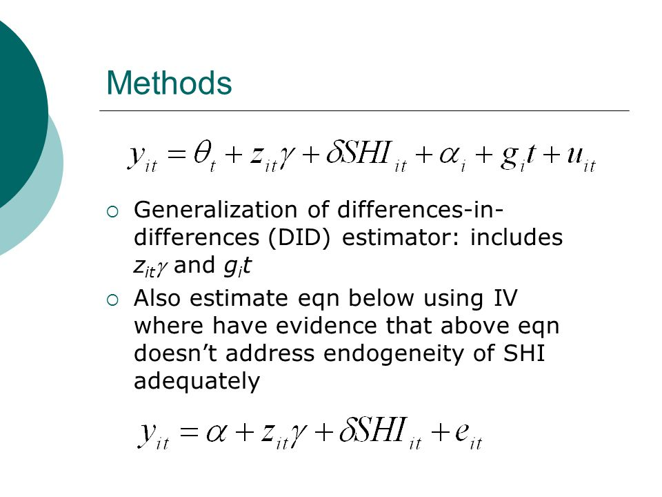 Methods Generalization of differences-in- differences (DID) estimator: includes z it and g i t Also estimate eqn below using IV where have evidence th