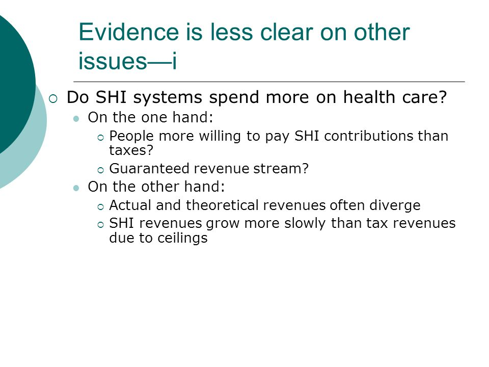 Evidence is less clear on other issuesi Do SHI systems spend more on health care.