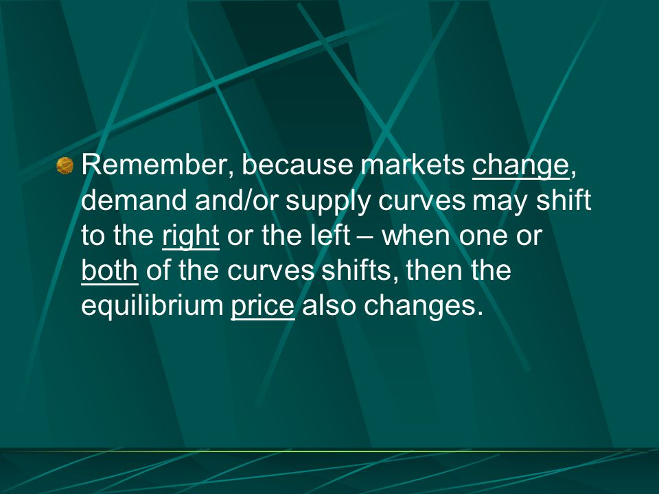 Remember, because markets change, demand and/or supply curves may shift to the right or the left – when one or both of the curves shifts, then the equ