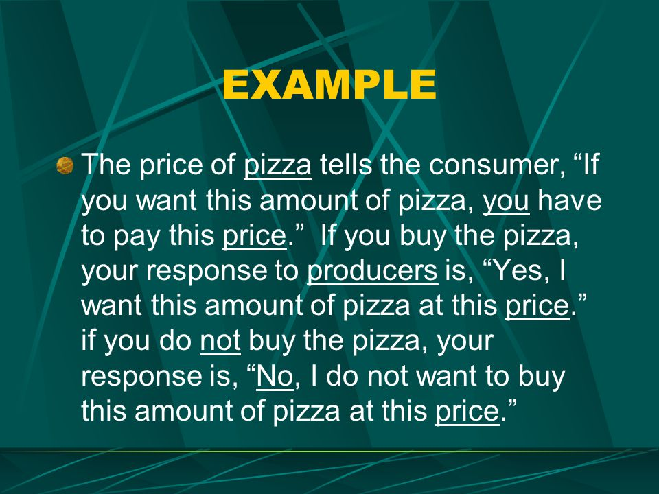 EXAMPLE The price of pizza tells the consumer, If you want this amount of pizza, you have to pay this price. If you buy the pizza, your response to pr