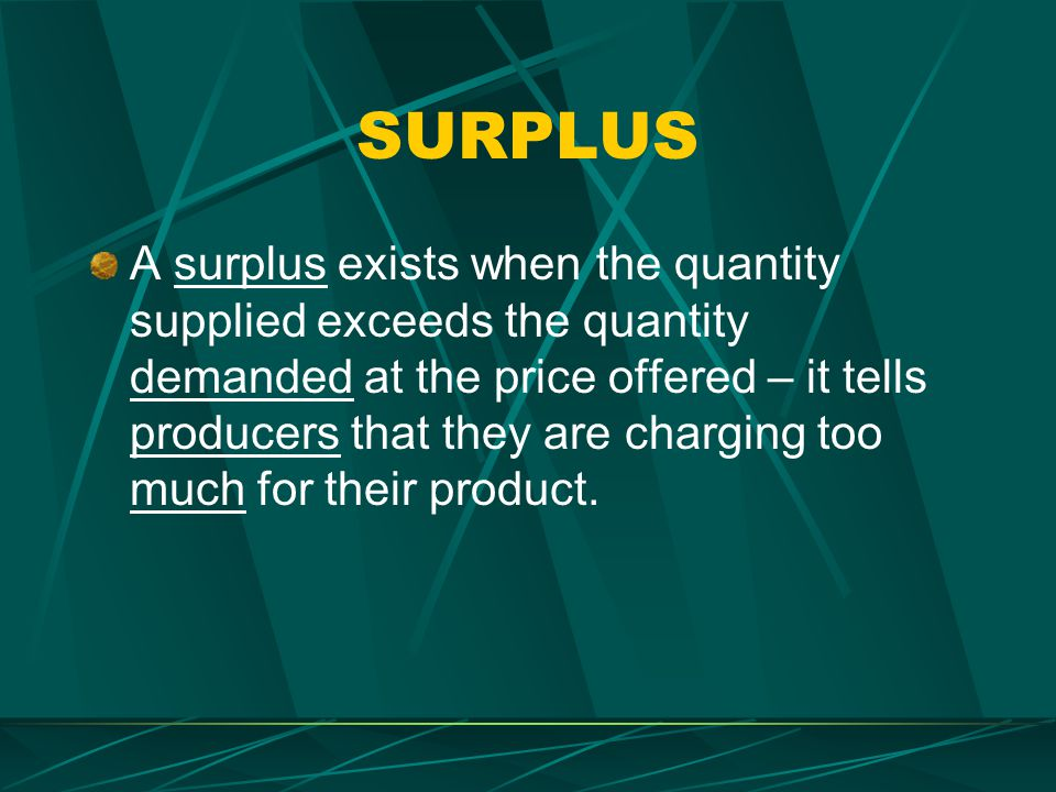 SHORTAGE A shortage exists when the quantity demanded exceeds the quantity supplied at the price offered – it tells producers that they are charging too little for their product.