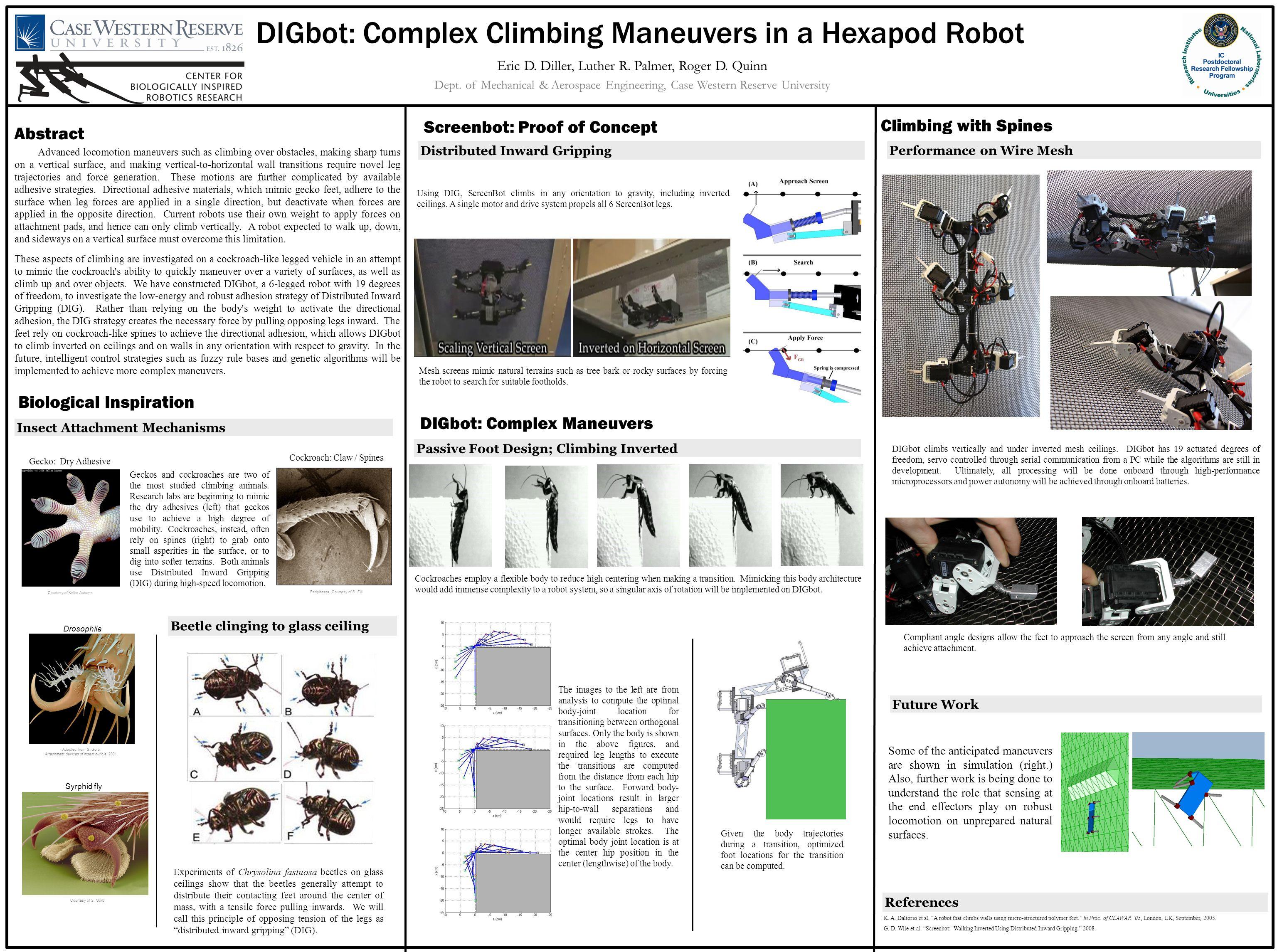 DIGbot: Complex Climbing Maneuvers in a Hexapod Robot Eric D.
