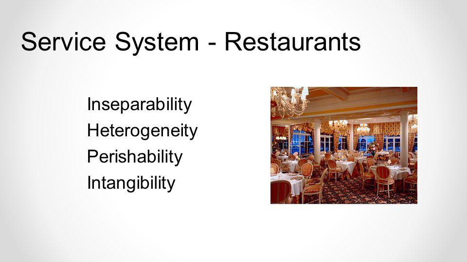 Inseparability Heterogeneity Perishability Intangibility Service System - Restaurants