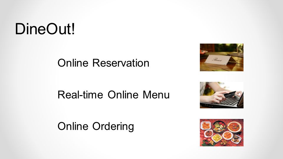 Online Reservation Real-time Online Menu Online Ordering DineOut!