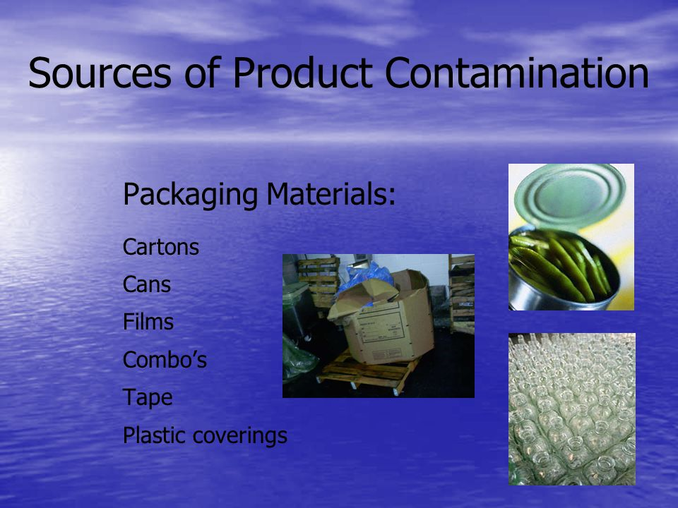 Sources of Product Contamination Packaging Materials: Cartons Cans Films Combos Tape Plastic coverings