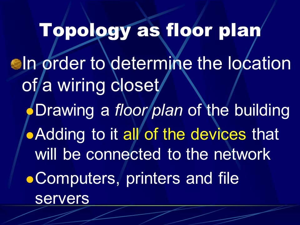 Topology as floor plan In order to determine the location of a wiring closet Drawing a floor plan of the building Adding to it all of the devices that