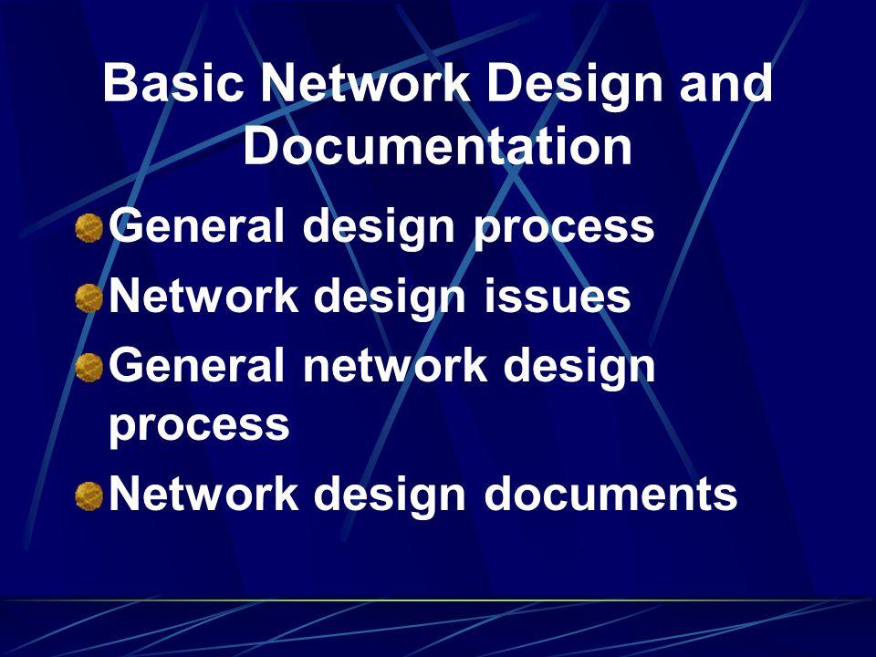 Basic Network Design and Documentation General design process Network design issues General network design process Network design documents
