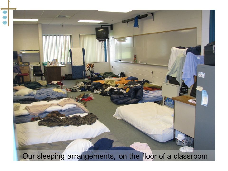 Our sleeping arrangements, on the floor of a classroom