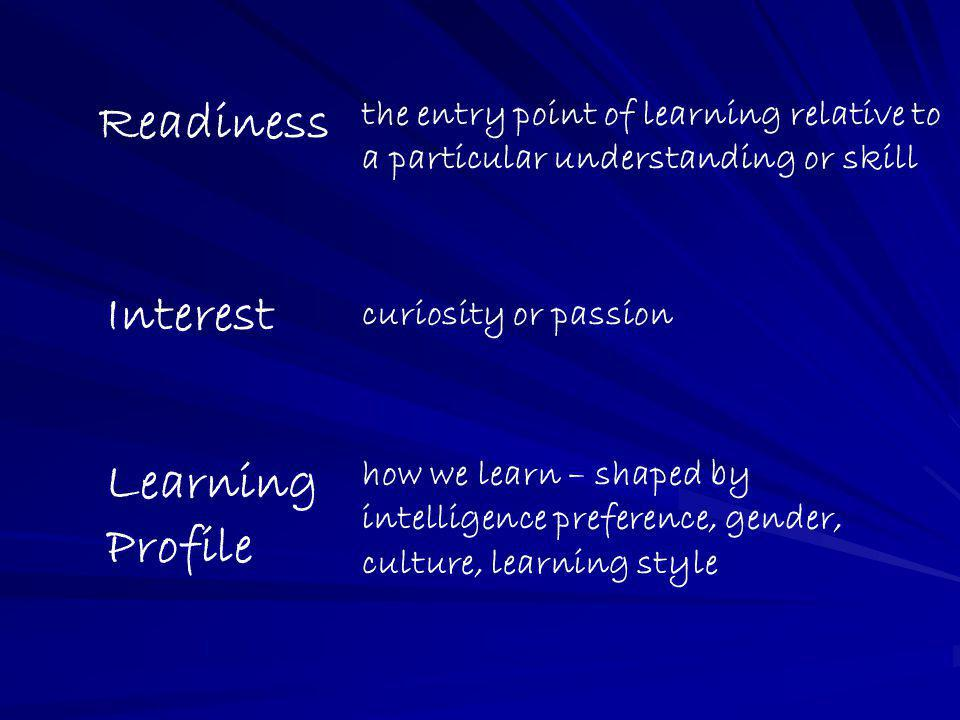 Readiness Interest Learning Profile the entry point of learning relative to a particular understanding or skill curiosity or passion how we learn – sh
