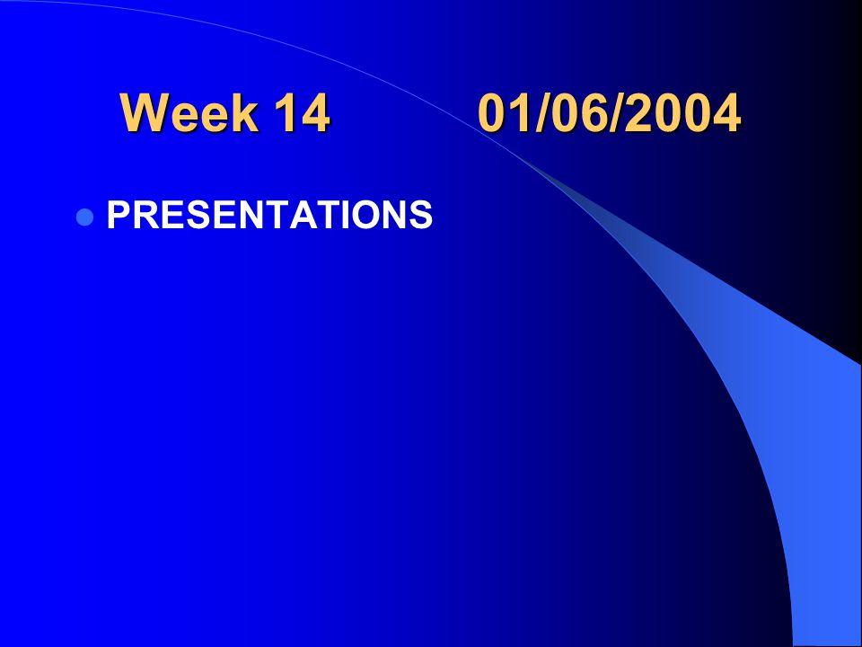 Week 14 01/06/2004 PRESENTATIONS