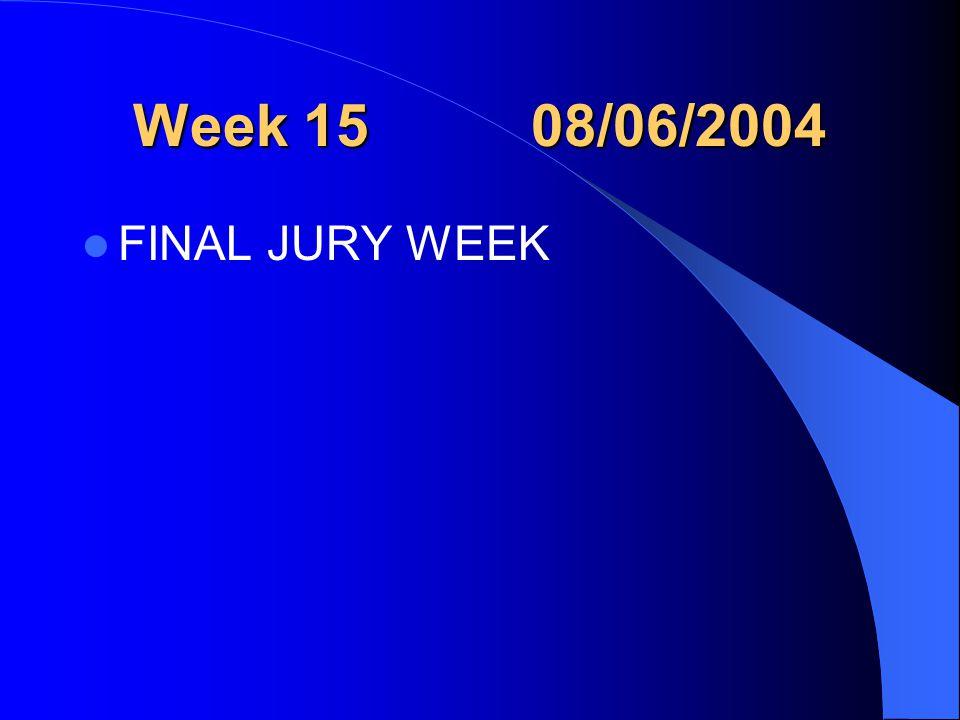 Week 15 08/06/2004 FINAL JURY WEEK